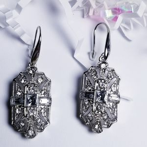 Vintage Vibe Deco Art Silver Earrings and CZ